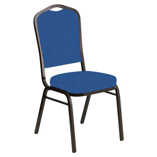 Our Embroidered Crown Back Banquet Chair in Neptune Patriot Blue Fabric - Gold Vein Frame is on sale now.