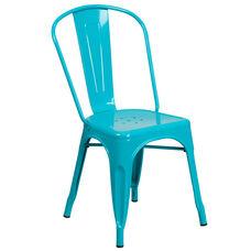 Crystal Teal-Blue Metal Indoor-Outdoor Stackable Chair