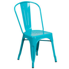 Crystal Teal-Blue Metal Indoor-Outdoor Stackable Chair