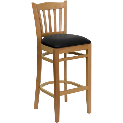 Our Natural Wood Finished Vertical Slat Back Wooden Restaurant Barstool with Black Vinyl Seat is on sale now.