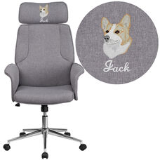 Embroidered High Back Gray Fabric Executive Swivel Chair with Chrome Base and Fully Upholstered Arms