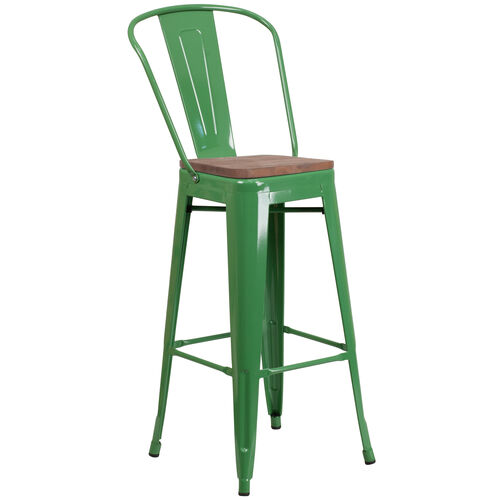 """Our 30"""" High Green Metal Barstool with Back and Wood Seat is on sale now."""