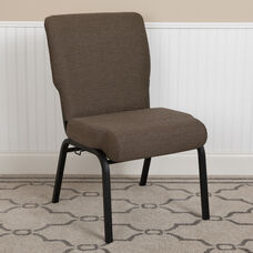 Advantage 20.5 in. Jute Molded Foam Church Chair with Book Rack
