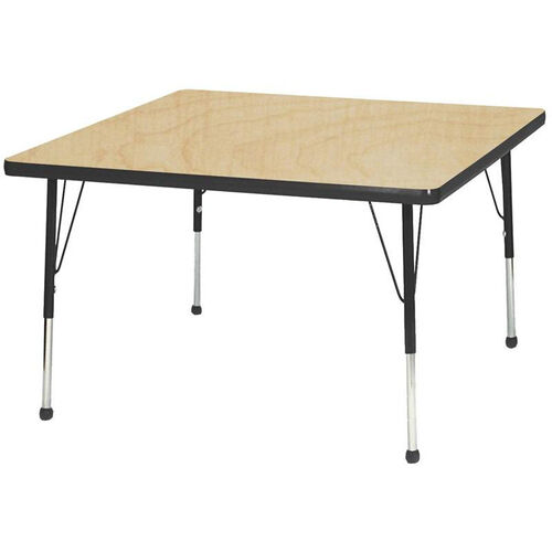Adjustable Toddler Height Laminate Top Square Activity Table - Maple Top with Black Edge and Legs - 36