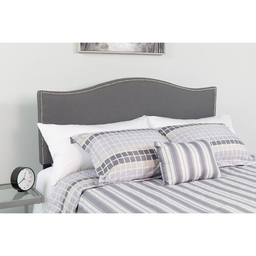 Lexington Upholstered Twin Size Headboard with Accent Nail Trim in Dark Gray Fabric