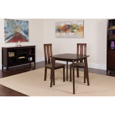 Westport 3 Piece Espresso Wood Dining Table Set with Vertical Wide Slat Back Wood Dining Chairs - Padded Seats