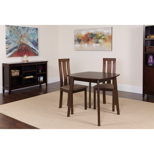 Our Westport 3 Piece Espresso Wood Dining Table Set with Vertical Wide Slat Back Wood Dining Chairs - Padded Seats is on sale now.