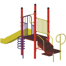 Galvanized Steel Tube Constructed Kurt Mega Series Play Center with Thermoplastic Coated Punch Steel Decks - 96