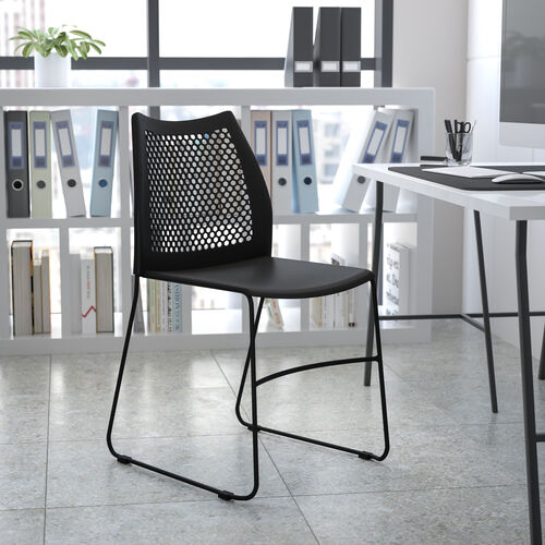 HERCULES Series 661 lb. Capacity Stack Chair with Air-Vent Back and Powder Coated Sled Base
