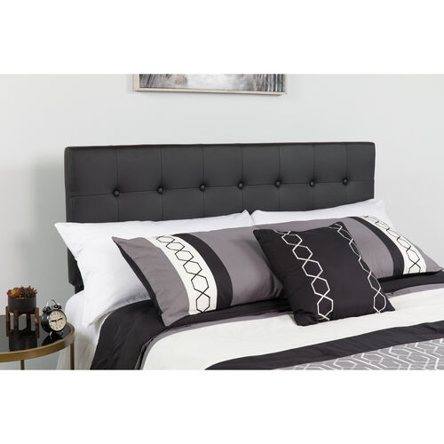 Our Lennox Tufted Upholstered Queen Size Headboard in Black Vinyl is on sale now.