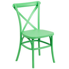 HERCULES Series Green Resin Indoor-Outdoor Cross Back Chair with Steel Inner Leg