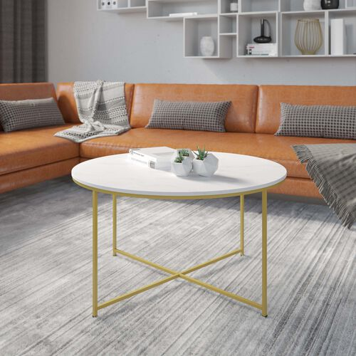 Hampstead Collection Coffee Table - Modern White Marble Finish Accent Table with Crisscross Matte Gold Frame