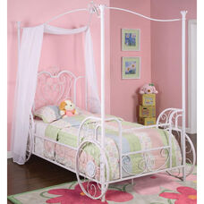 Princess Emily Carriage Canopy Twin Bed - Antique Hand Washed White