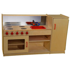 4 in 1 Wooden Kitchenette with Red Accents - 48