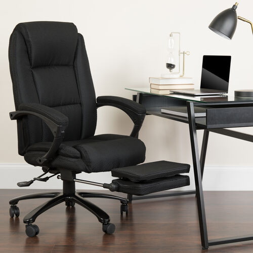 Our High Back Fabric Executive Ergonomic Reclining Swivel Office Chair with Comfort Coil Seat Springs and Padded Arms is on sale now.