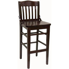 Vertical Slat Back Solid Wood Barstool - Dark Mahogany Finish