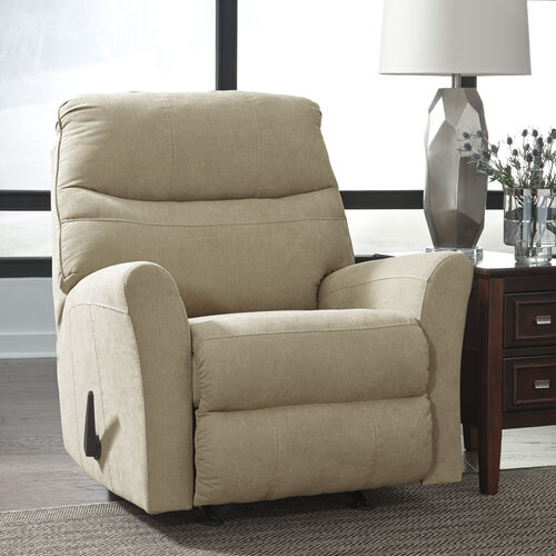 Our Benchcraft Maier Rocker Recliner in Cocoa Microfiber is on sale now.