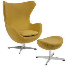 Citron Wool Fabric Egg Chair with Tilt-Lock Mechanism and Ottoman