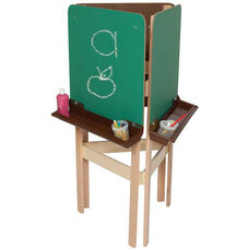 3-Sided Adjustable Art Easel with Chalkboard and Brown Trays - 24