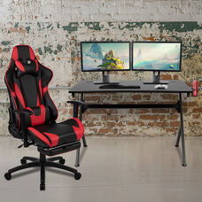 BlackArc Black Gaming Desk and Red/Black Footrest Reclining Gaming Chair Set with Cup Holder, Headphone Hook & 2 Wire Management Holes