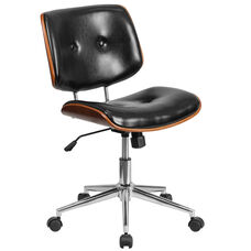 Mid-Back Black Leather Ergonomic Wood Swivel Task Chair