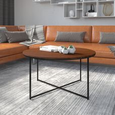 Hampstead Collection Coffee Table - Modern Walnut Finish Accent Table with Crisscross Matte Black Frame