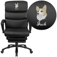 Embroidered High Back Black Leather Reclining Ergonomic Office Chair with Adjustable Headrest, Coil Springs & Arms