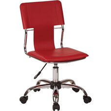 Ave Six Carina Vinyl Task Chair with Adjustable Seat Height and Chrome Base - Red