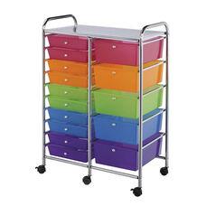 15 Drawer Chrome Frame Storage Cart - Multicolor
