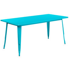"Commercial Grade 31.5"" x 63"" Rectangular Crystal Teal-Blue Metal Indoor-Outdoor Table"