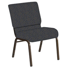 Embroidered 21''W Church Chair in Jasmine Sky Fabric - Gold Vein Frame