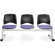 Stars 3-Beam Seating with 3 Fabric Seats - Lavender