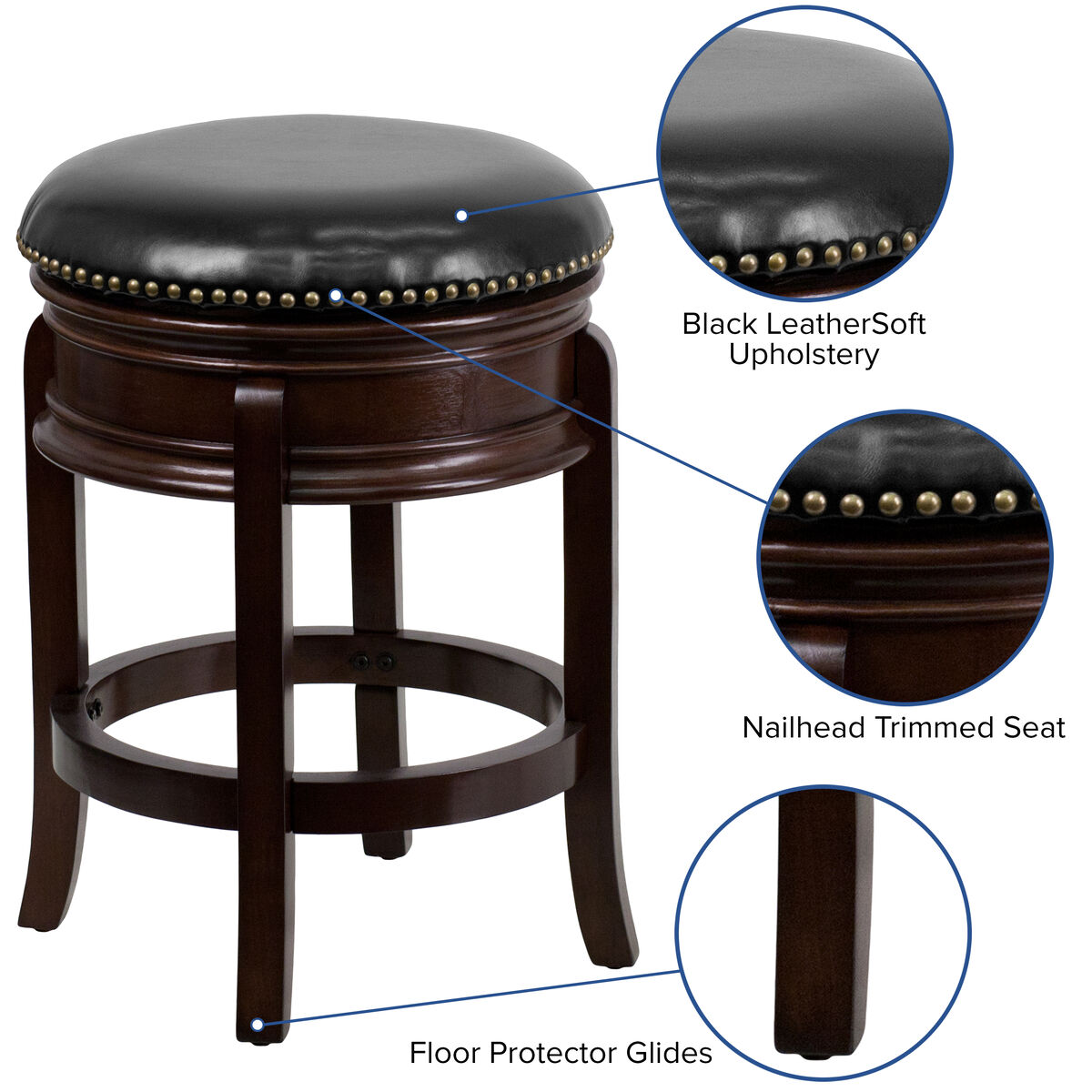 Excellent 24 High Backless Light Cherry Wood Counter Height Stool Carved Apron And Black Leather Swivel Seat Short Links Chair Design For Home Short Linksinfo