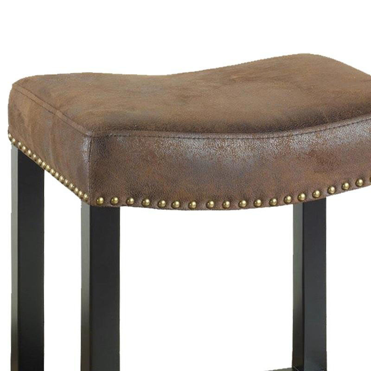 Our Tudor 26 H Backless Counter Stool With Fabric Upholstered Seat And Nailhead Trim