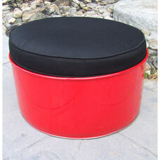 Red Loft Steel Drum Ottoman with Black Accents