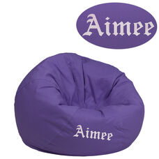 Personalized Small Solid Purple Bean Bag Chair for Kids and Teens