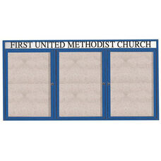 3 Door Outdoor Illuminated Enclosed Bulletin Board with Header and Blue Powder Coated Aluminum Frame - 48