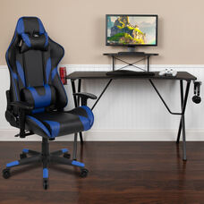 BlackArc Black Gaming Desk and Blue Reclining Gaming Chair Set with Cup Holder, Headphone Hook, and Monitor/Smartphone Stand