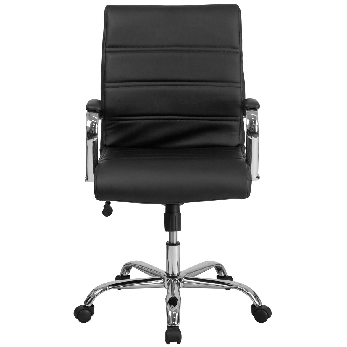 Our Mid Back Black Leather Executive Swivel Chair With Chrome Base And Arms Is On