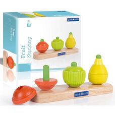 Fruit Stacking Sensory Stimulation Kit with Pegged Base and Chunky Wooden Shapes - 9