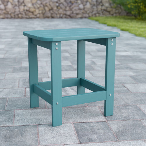 Charlestown All-Weather Poly Resin Wood Adirondack Side Table in Sea Foam