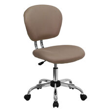 Mid-Back Coffee Brown Mesh Padded Swivel Task Office Chair with Chrome Base