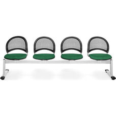 Moon 4-Beam Seating with 4 Fabric Seats - Forest Green