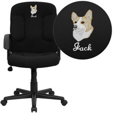 Embroidered Mid-Back Black Fabric Executive Swivel Office Chair with Nylon Arms