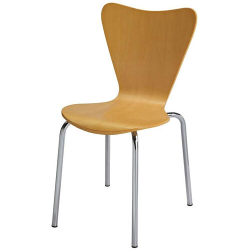 3800 Series Bentwood Stacking Armless Cafe Chair with Chrome Frame - Natural