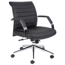 Ribbed Mid Back CaressoftPlus Executive Chair with Armrests - Black