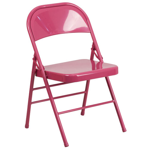 Our HERCULES COLORBURST Series Shockingly Fuchsia Triple Braced & Double Hinged Metal Folding Chair is on sale now.