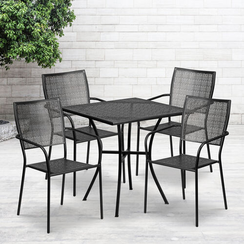 """Commercial Grade 28"""" Square Indoor-Outdoor Steel Patio Table Set with 4 Square Back Chairs"""