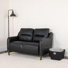 Newton Hill Upholstered Bustle Back Loveseat in Black LeatherSoft