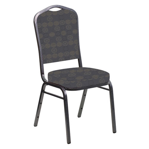 Our Crown Back Banquet Chair in Galaxy Steel Fabric - Silver Vein Frame is on sale now.
